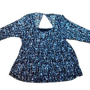 Torrid Blue floral babydoll waist top